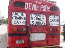 The Devil and Pope are in trouble with God for changing the holy sabbath day to Sunday